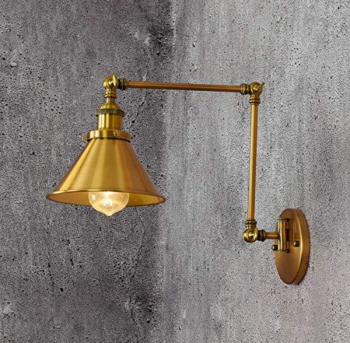 GDLight Lámpara de Pared con Brazo articulado Vintage Estilo Loft Lámpara de Pared de 1 luz Ajustable Aplique de Pared Industrial para Pasillo de Lectura de Dormitorio, E27 ✅