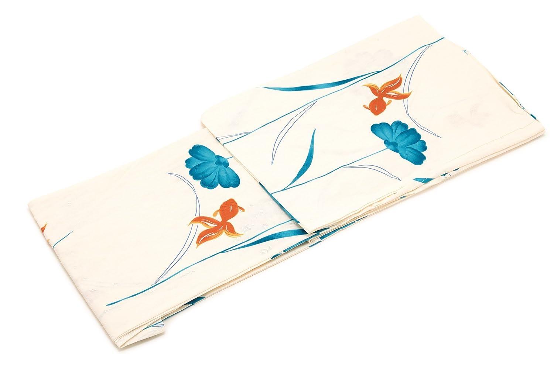 (ソウビエン) レディース浴衣 bonheur saisons ボヌールセゾン 白系 アイボリー 青 ブルー オレンジ 金魚 花 綿 変わり織り 夏祭り 花火大会 女性用 仕立て上がり フリーサイズ