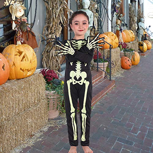 Halloween Skeleton Kids Costume with Gloves Child Lifelike Scary Bone Skull Outfit Fancy Dress Up for Halloween Carnival Party,4-14Years