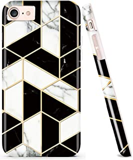 DOUJIAZ Compatible with Bling Glitter Sparkle Marble Design Clear Bumper Glossy TPU Soft Rubber Silicone Cover Phone Case for iPhone 7 iPhone 8 iPhone 6 6S(Black Grid)