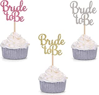 Tetor Glitter Bride to Be Cupcake Toppers Bridal Shower Bachelorette Party Table Decorations Cake Picks for engagement party Cupcake Decorations(36 Pieces)