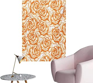 Anzhutwelve Burnt Orange Wallpaper Romantic Rose Bouquet in Warm Tones Valentines Day Love FlowersBurnt Orange Pale Orange W20 xL28 Art Poster