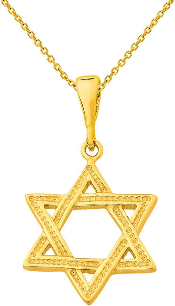 14k Yellow Gold Jewish Star of David Charm Pendant with Chain Necklace