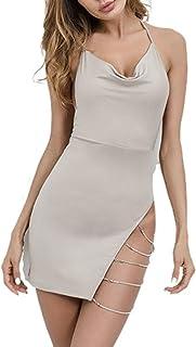 CORAFRITZ - Mini abito da donna sexy senza maniche, con scollo all'americana