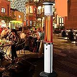 Calentador de patio exterior de 2700 vatios, calentador de infrarrojos, resistente al agua, con protección contra vuelcos, calentador eléctrico para uso en exteriores, independiente, con luz y control