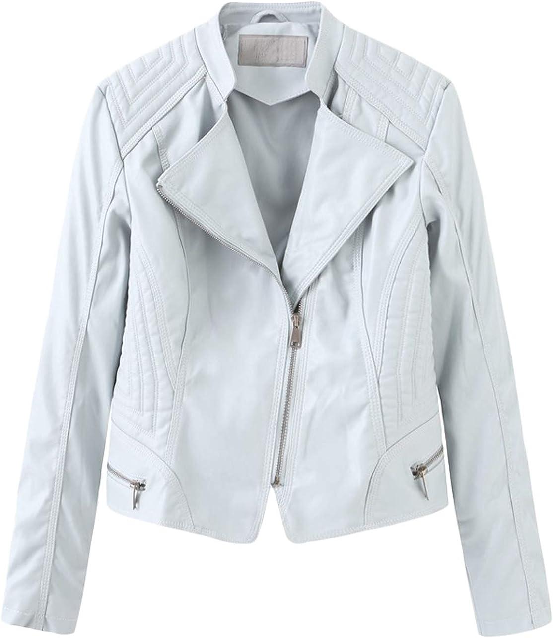Youhan Women's PU Faux Leather Jacket Short Zip Up Motorcycle Coat