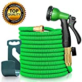 Sicall 50ft Expandable Fabric Garden Hose, All New Hose Set with Solid Brass Fittings, Extra Strength Fabric, Flexible Expanding Hose with 8 Function Spray Nozzles, Free Storage Hook Included