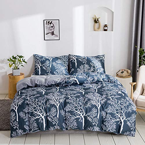 BSZHCT Bedding 78.7x78.7 inch Gray and white trees Duvet cover set King bed 3 pcs with Zipper Closure with 2 Pillow covers Ultra Soft Hypoallergenic Microfiber Quilt Cover Sets