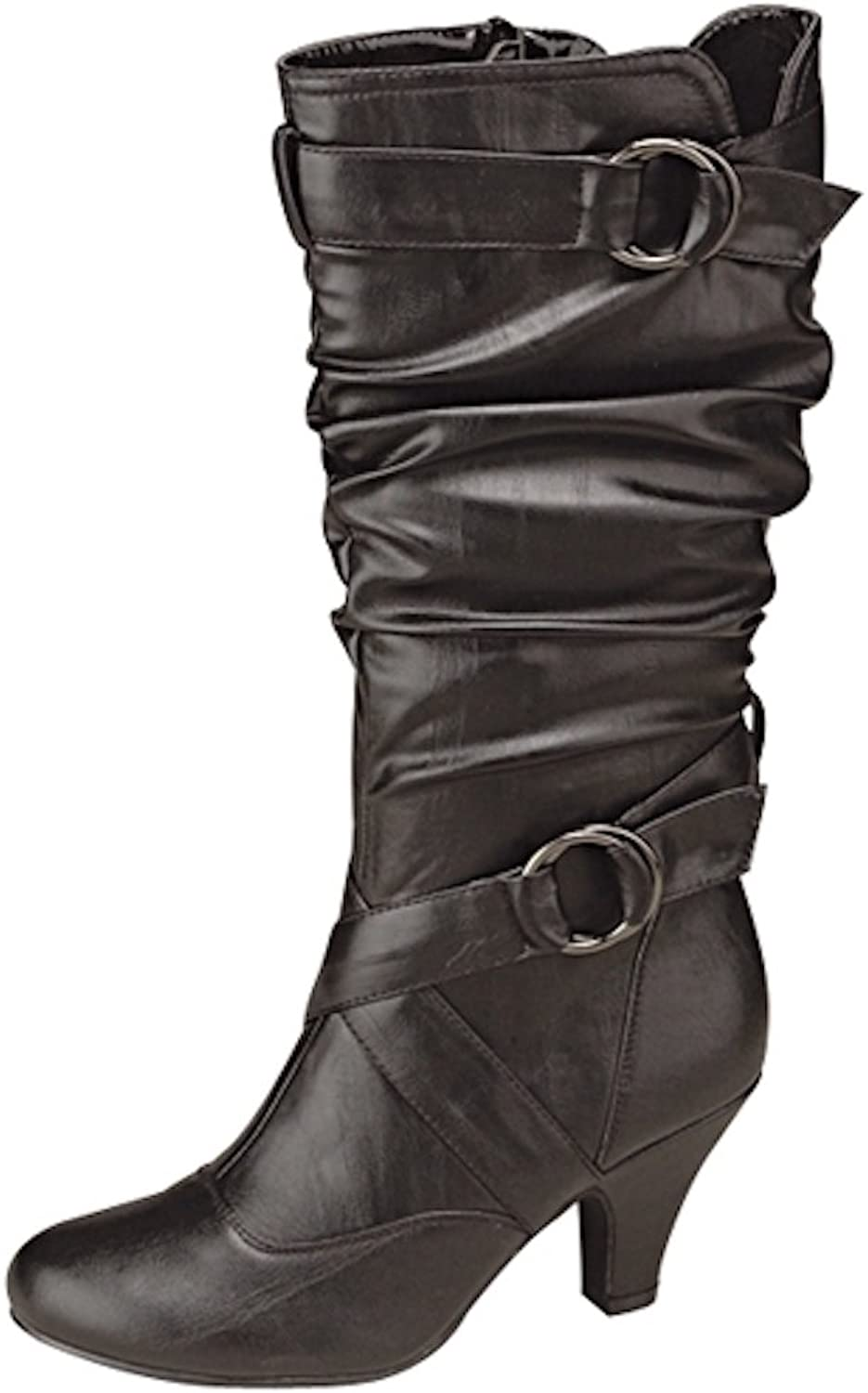Top Moda Women's Auto-2 Round Toe Dress Boot,5.5 B(M) US,Black-08