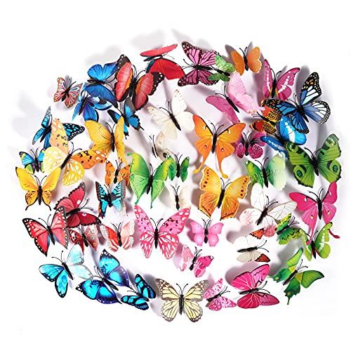 Foonii 72 Piezas 3D Mariposa Pegatinas de Pared Etiquetas Engomadas Mariposas Decoración de la Pared Para Hogar Casa Habitación (12 Rojo,12 Azul,12 Amarillo,12 Verde,12 Rosa,12 Color)