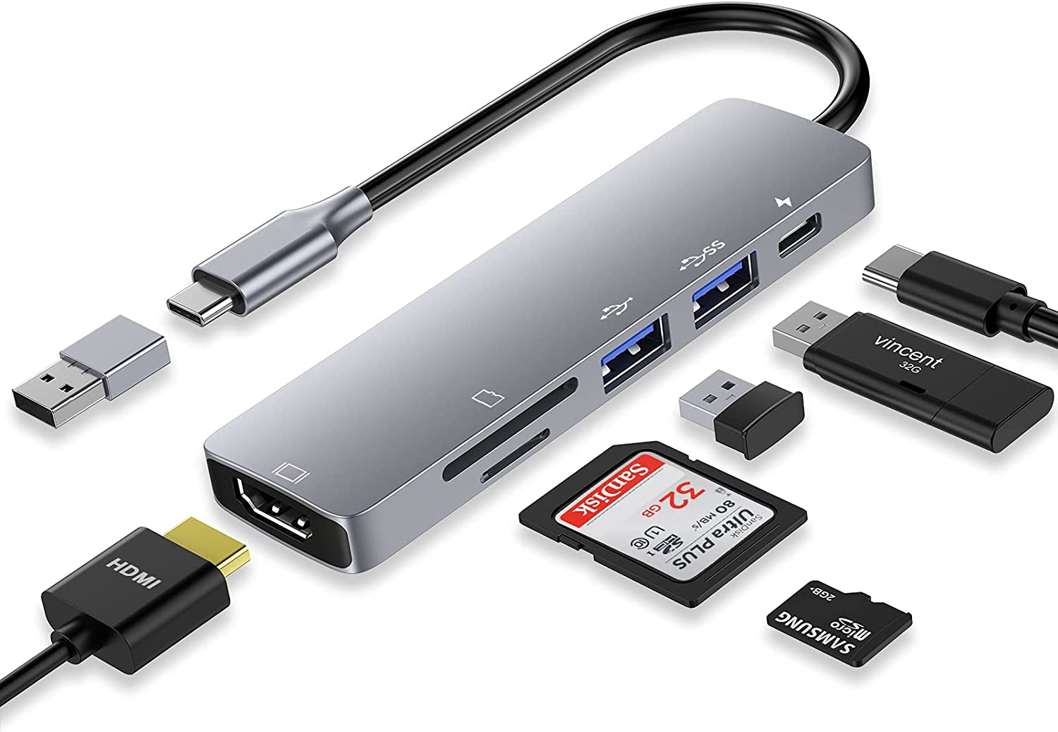 USB C HUB, 6 in 1 USB C Laptop Docking Station Dual Monitor with 4K HDMI, 2 USB 3.0, SD/Micro SD Card Reader, 87W PD Charging and USB C to A Adapter Compatible for MacBook Pro, Surface and More (grey)