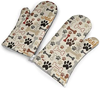 YUHUJUKU Dog Bones Paw Prints Heat Insulation Gloves, A Pair of Gloves, A Heat Insulation Mat.(1.6 Inches Thick)