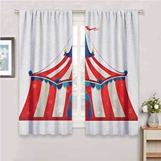 Jinguizi Circus Light Curtain Colorful Striped Circus Marquee Tent Stars Carnival Performance Illustration Blackout Curtains for Bedroom Vermilion Blue 84 x 72 inch