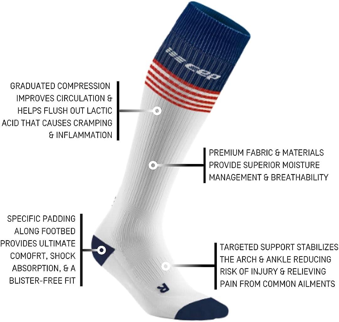 CEP Old Glory socks, white/red&blue, women III