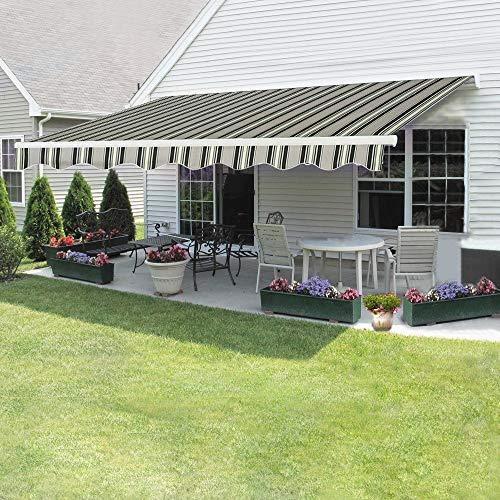 Dakea Markise Balkonmarkise Sonnenschutz mit Kurbel Anti-UV wasserfest und Wasserdicht 300 x 250cm (300x250cm, Multi-Stripe)