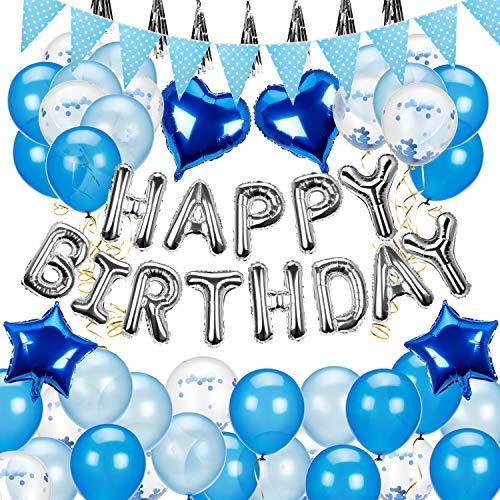 Vintoney Palloncini Compleanno Addobbi Festa Compleanno Set Blu Happy Birthday Palloncini a Cuore Palloncini a Stelle Decorazione per Matrimonio Compleanno Party