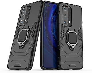 جراب متوافق مع Huawei P40 Pro+، حامل معدني ذو قبضة دائرية مضاد للصدمات (يعمل مع حامل السيارة المغناطيسي) غطاء متين بطبقة م...