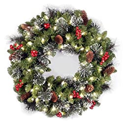 National Tree 24 Inch Crestwood Spruce Wreath with Silver Bristles, Cones, Red Berries and 50 Batter