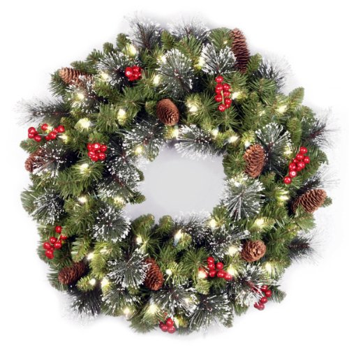 National Tree Company lit Artificial Christmas Wreath Flocked with Mixed Decorations and Pre-strung White LED Lights, Crestwood Spruce-24 inch