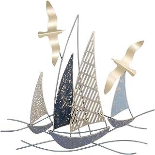 CAPRILO. Adorno Pared Decorativo de Metal Barcos con Gaviota. Cuadros y Apliques. Barcos. Muebles Auxiliares. Decoración H...