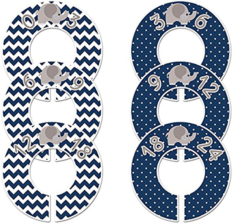 C189 Elephant Navy Boy Baby Clothing Dividers Set Of 6 Fits 1 25 Inch Rod