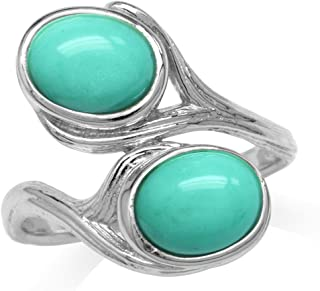 Created Green Turquoise White Gold Plated 925 Sterling Silver Textured Bypass Ring