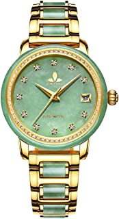 CHIYODA Luxury Automatic Green Jade Watch for Women, Swiss Automatic Watch with Calendar and Diamonds Jade Dial Precious Timepiece for Collection