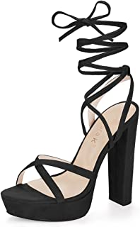 Women's Crisscross Strap Lace Up Chunky Heel Platform Sandals