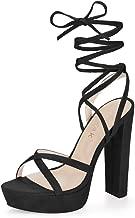 Allegra K Women's Crisscross Strap Lace Up Chunky Heel Platform Sandals