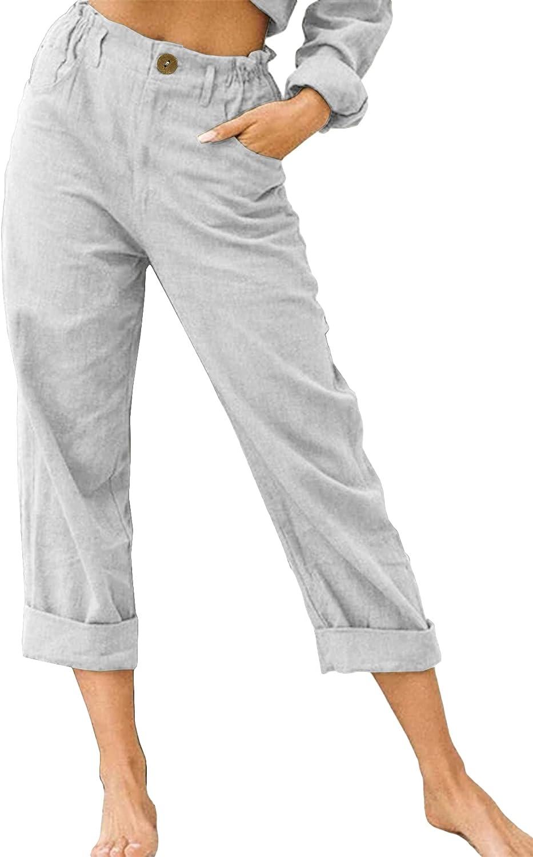 Womens Cotton Linen Pants Flat Front Loose Fit Casual Elastic Waist Summer Beach Trousers