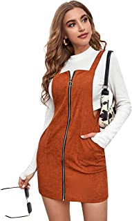 Romwe Women's Zipper Front Strap A Line Pocket Overall Pinafore Dress