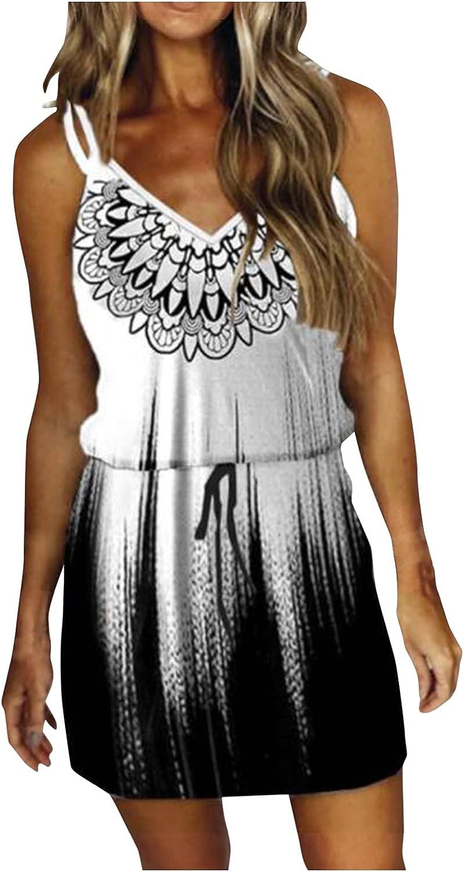 ManxiVoo Women's Spaghetti Strap Sleeveless Mini Dress Printed Drawstring Waist Short Dress with Pockets