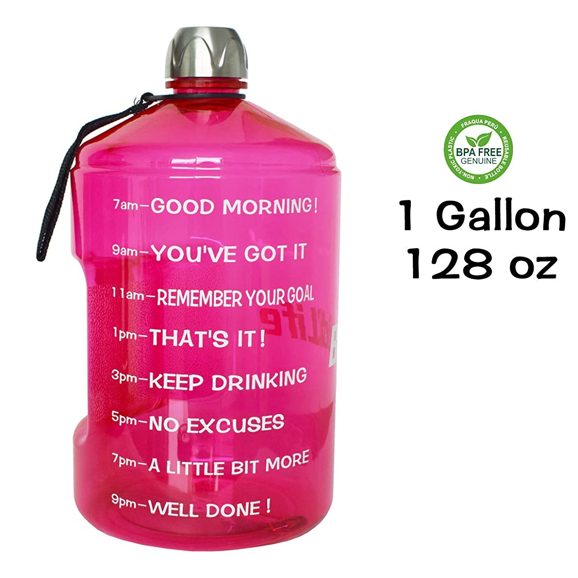 QuiFit 128oz/73oz/43oz Water Bottle Reusable Leak-Proof Drinking Water Jug for Outdoor Camping BPA Free Plastic Sports Water Bottle with Daily Time Marked