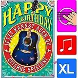 bentino Geburtstagskarte XL mit'Gitarre' zum SELBER SPIELEN, Spiele auf der Gitarre den Song'Happy Birthday', DIN A4 Set mit Umschlag, Glückwunschkarte mit Musik