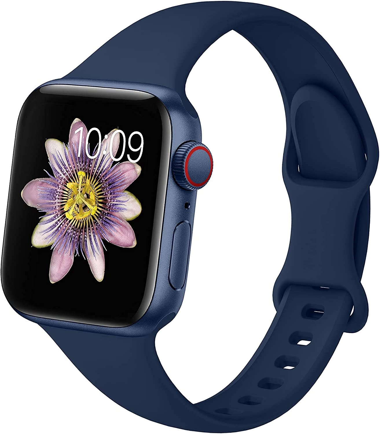 TreasureMax Slim Sport Bands Compatible with Apple Watch Band 38mm 40mm 42mm 44MM Men Women, Thin Silicone Band Narrow Replacement Strap Compatible for iWatch Serie 6 5 4 3 2 1 SE 38MM/40MM Navy Blue