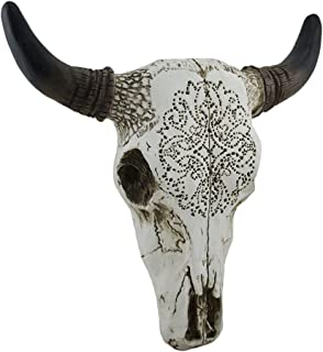 Zeckos Tribal Design Carved White Bull Skull Wall Hanging