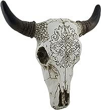 Zeckos Tribal Design Carved White Bull Skull Wall Hanging