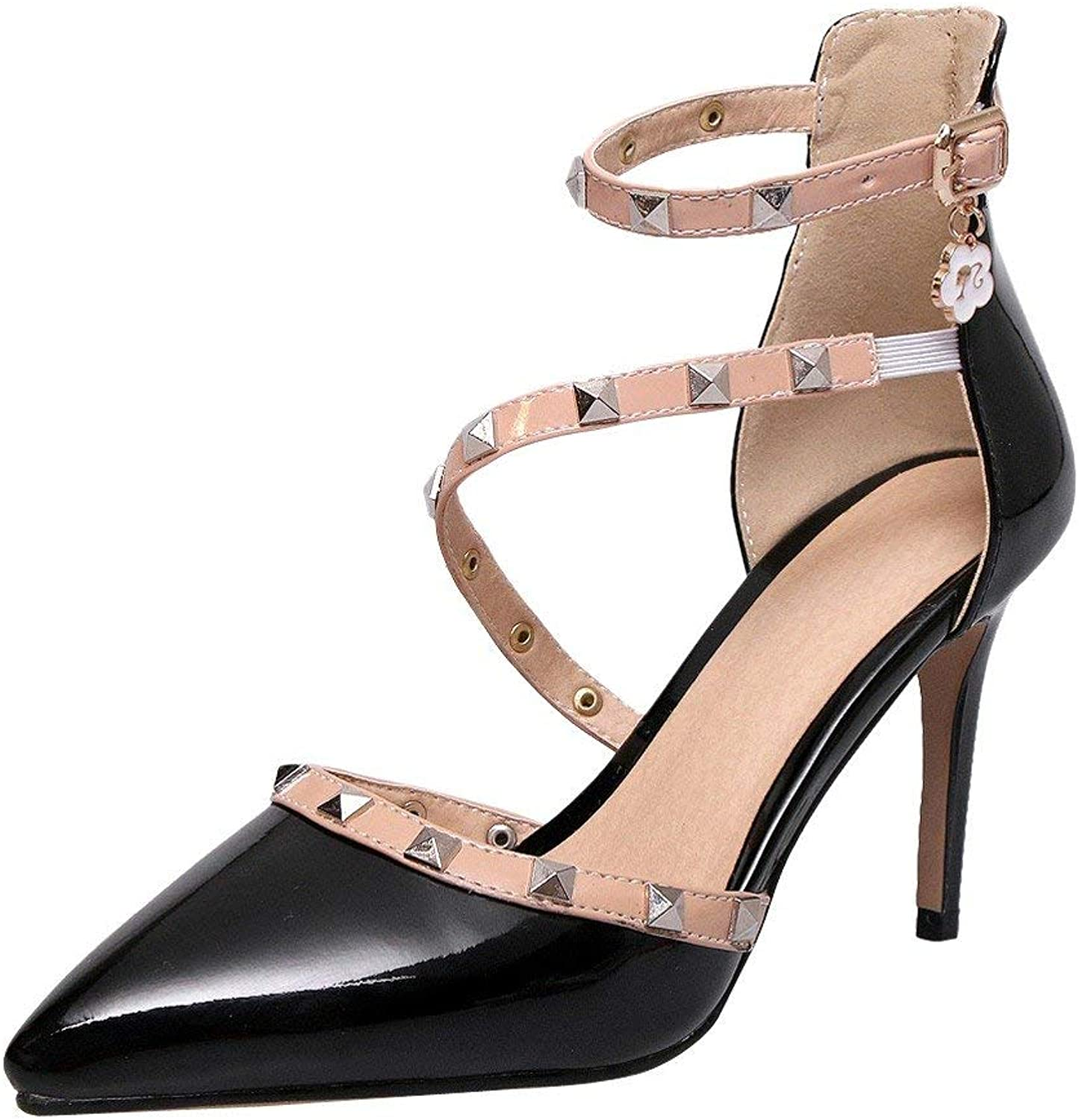 Gcanwea Women's Pointed Toe Ankle Strap Stiletto D'Orsay shoes Comfortable Elegant Patent Leather Dress Breathable Sexy Rivets Skinny Ladies Fashion Red 5 M US shoes