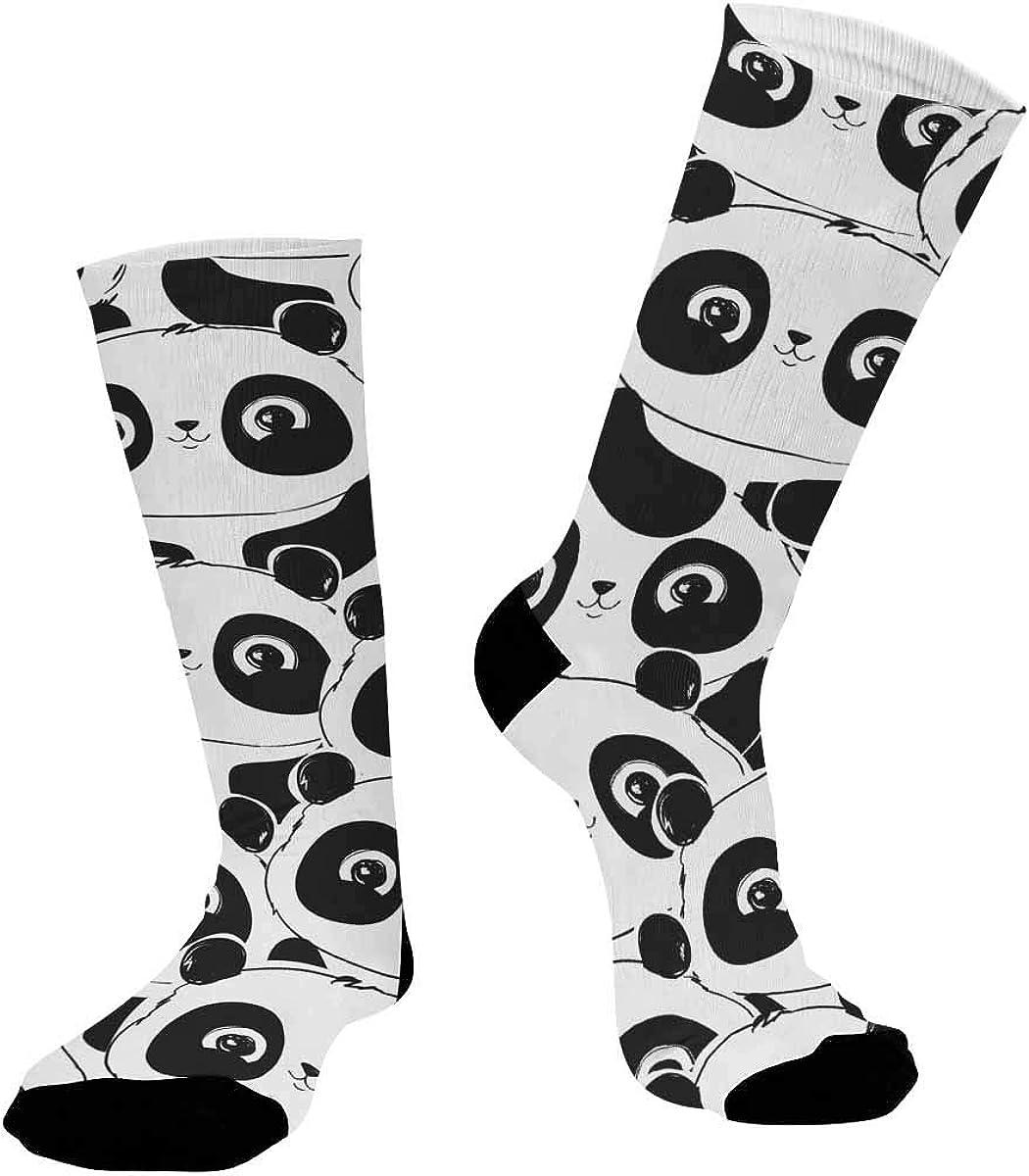 INTERESTPRINT Unisex Casual Sublimated Crew Running Socks Panda Pattern