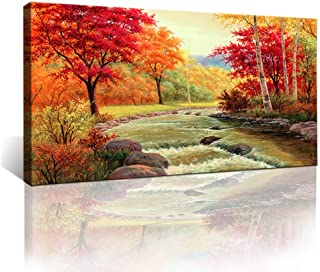 Moyedecor Art - Autumn Red Trees Forest Mountain Waterfall Canvas Print Paintings For Wall And Home Décor Office Gifts Art Ready to Hang