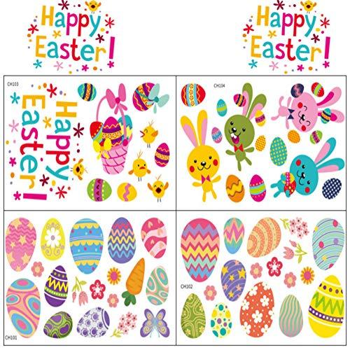 Stickers Pâques Fenetre,Autocollants de Pâques,Autocollants Oeufs Lapin De Pâques,Décorations de Pâques,Autocollants Décoratifs,Autocollants de Fenêtre Pâques pour DIY Pâques Deco