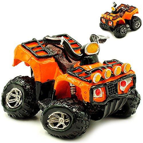 alles-meine.de GmbH Spardose -  Quad / ATV - orange & schwarz  - stabile Sparbüchse aus Kunstharz / Polyresin - Sparschwein - Auto / Motorrad - für Kinder & Erwachsene / lustig..