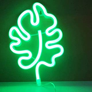 FRCOLOR Leaf Neon Signs LED Monstera Leaf Neon Night Light Nursery Marquee Sign Decorative Neon Light for Home Bar Decoration