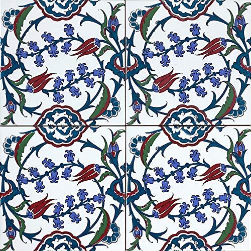 Cerames Pinar - Coloridos azulejos turcos, 1 paquete - 0.48m2 (12 piezas), azulejos de cerámica Iznik con patrón, 20x20, ideal para la cocina o el baño.