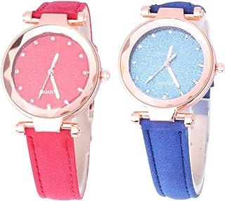 NICERIO 2 peças, relógio feminino de quartzo – Relógio de pulso projetado com céu com pulseira de relógio de couro de quar...