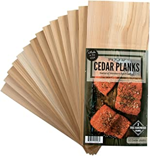 Cedar Grilling Planks 12 Pack Plus 2 Free Alder Planks Western Red Cedar 5 x 11 Inches Size for 2-4 Servings - Cook Salmon, Vegetables, Pork Chops and More