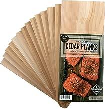 """Cedar Grilling Planks 12 Pack + 2 Free Alder Planks – Certified Food Safe - 5x11"""" For Salmon, Pork Chops, Vegetables and More"""