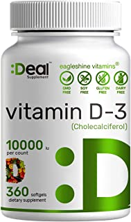 Sunshine Vitamin D - Vitamin D3 10000 IU, 360 Softgels, One Year Supply, Support Healthy Muscle, Bones, Teeth and Immune S...