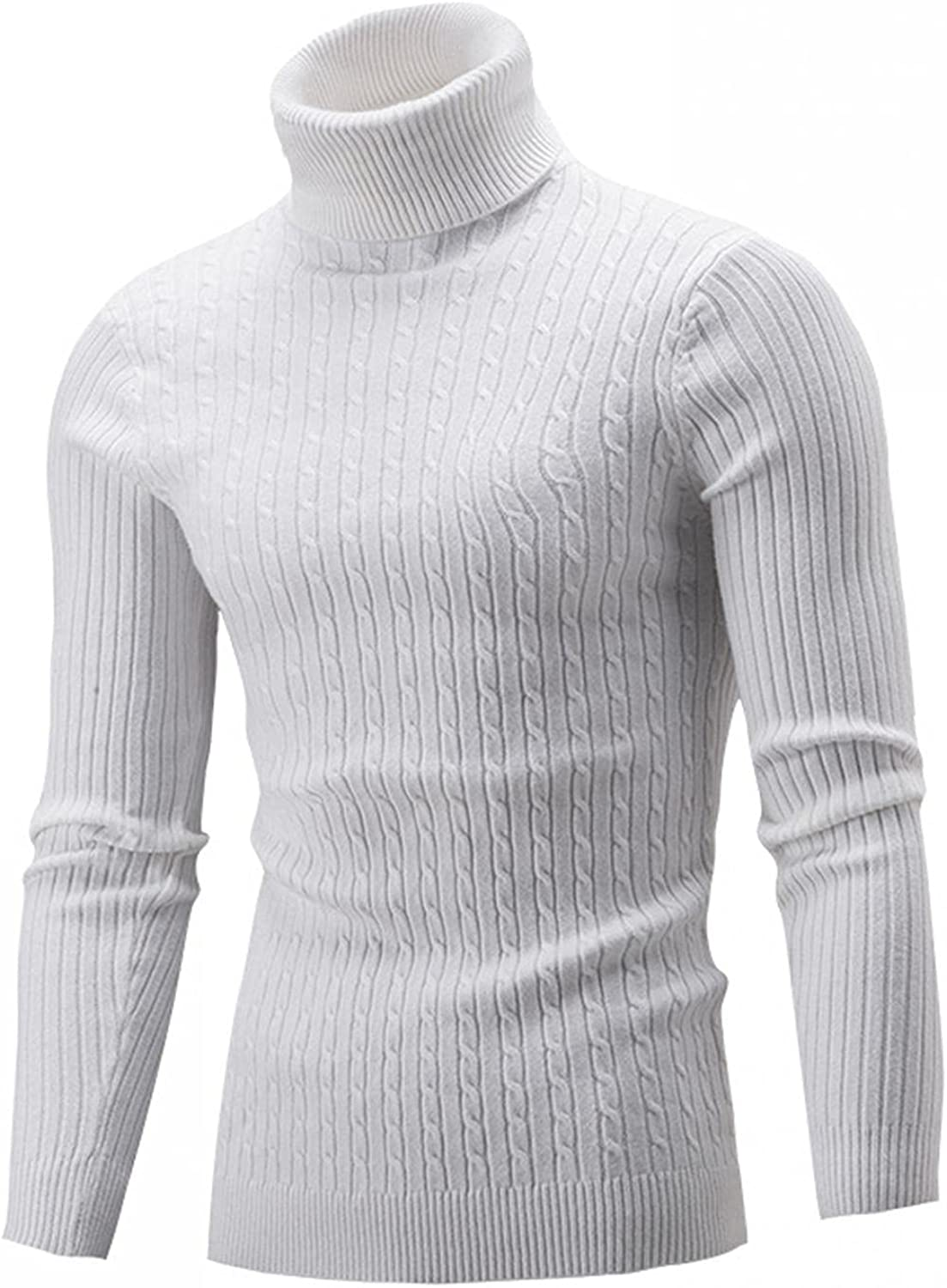 Burband Mens Slim Fit Turtleneck Sweaters Cable Knit Thermal Pullover Sweaters Casual Ribbed Pullover High Neck Sweaters