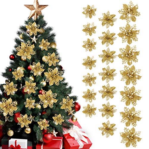 GWHOLE 21 x Flores de Navidad Decoraciones para Árbol Navidad Flores Artificiales de Dorado en 3 Tamaño